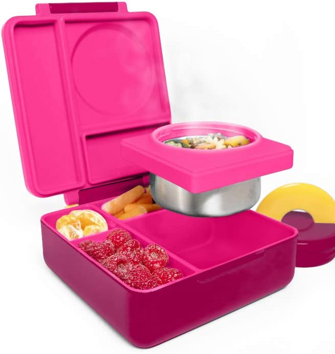 OmieBox Bento Box for Kids - Insulated Bento Lunch Box with Leak Proof Thermos Food Jar - 3 Compartments, Two Temperature Zones - (Pink Berry) (Single)