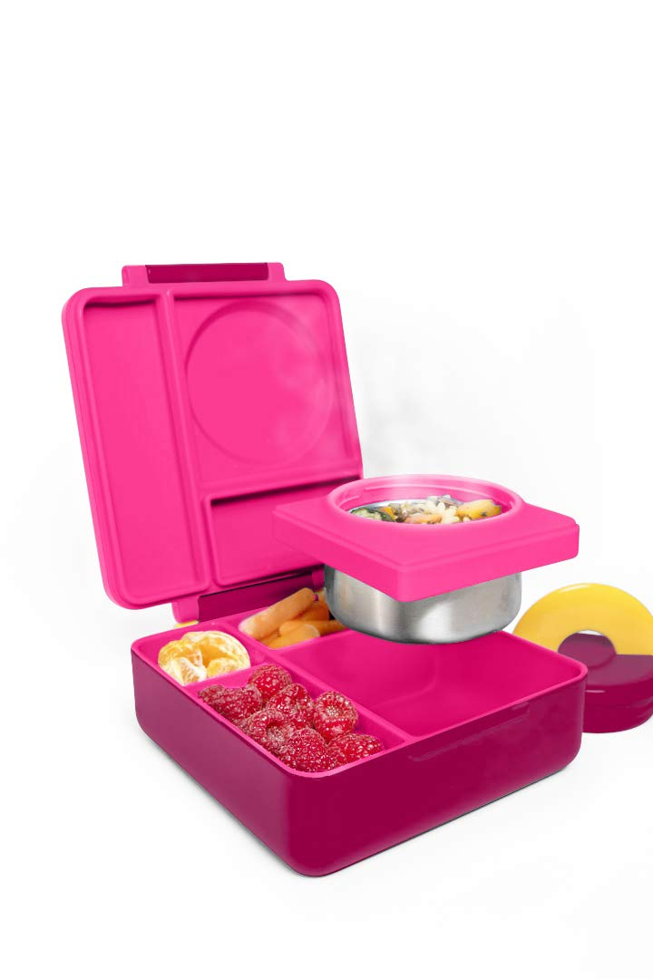 5f33ef9d3a OmieBox Bento Box for Kids | Insulated and Leak Proof Lunch Box for Hot &  Cold Food with Thermos Food Jar - 3 Compartments, Two Temperature Zones -  (Pink ...