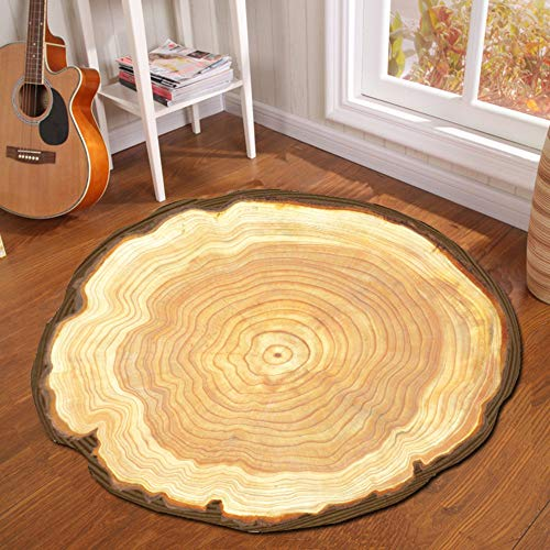 Round Carpet - Creative Tree Pier Print Round Carpet Mat Bedroom Bedside Living Room Coffee Table Hanging Basket Computer Chair Anti-Slip Mat, 100100CM (Pier One Chairs Basket)