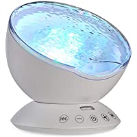 TOMNEW Remote Control Ocean Wave Projector Aurora Mood Night Light Lamp 7 Colorful Light with Bulit-in Speaker Music Player for Baby Kids Adults Bedroom Living Room (White)