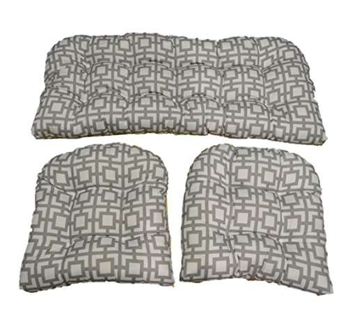 3 Piece Wicker Cushion Set - Gray / Grey and White Geometric Square Pattern Indoor / Outdoor Fabric Cushion for Wicker Loveseat Settee & 2 Matching Chair Cushions