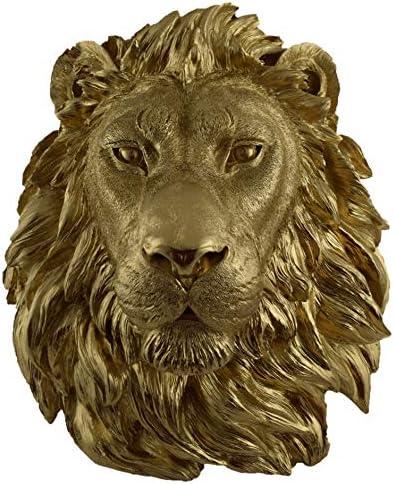 Faux Taxidermy Studio Fake Lion Head Faux Taxidermy Fake Resin Lion Head Mount White, 16.5