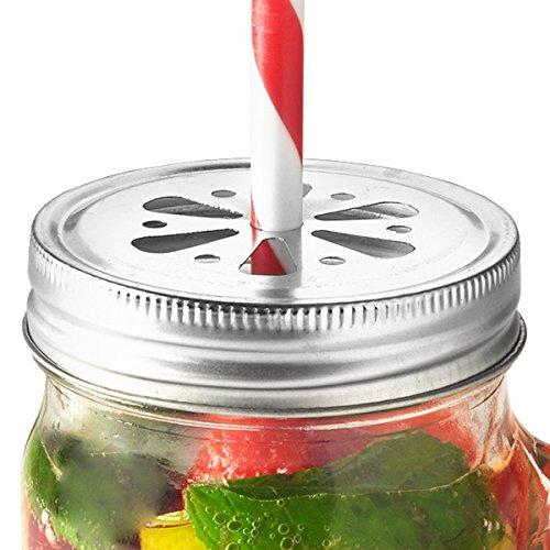 Kilner Drinking Jar Flower coperchi–Confezione da 6| Kilner Jar coperchi coperchi, foro per cannuccia per bere barattoli 0025.476