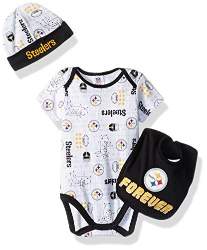 Nfl Pittsburgh Steelers Snap (NFL Pittsburgh Steelers Boys Bodysuit Bib & Cap Set, 0-3 Months, Black)