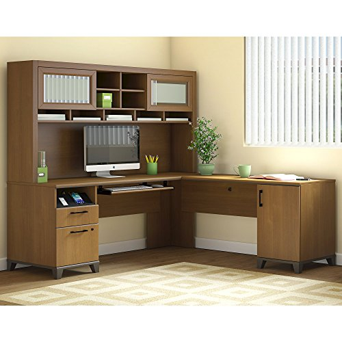- Bush Furniture Achieve L Shaped Desk with Hutch in Warm Oak