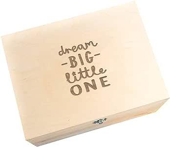 Caja de recuerdos de madera grabada/caja de recuerdo para bebé/regalo único para recién nacido/regalo grabado para nuevos padres/recién nacido beige Natural Pine Talla:Dream Big Little One: Amazon.es: Bebé