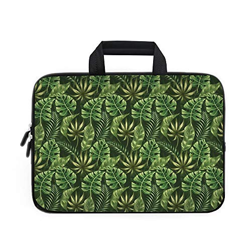 (Leaf Laptop Carrying Bag Sleeve,Neoprene Sleeve Case/Jungle Forest Palm Leaves Hawaiian Summer Tropic Theme Decorative/for Apple Macbook Air Samsung Google Acer HP DELL Lenovo AsusDark Green Forest Gr )