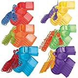 Colorful Sports Whistle Party Toy Noisemaker Favour and Prize Giveaway, Mega Value Pack of 30.