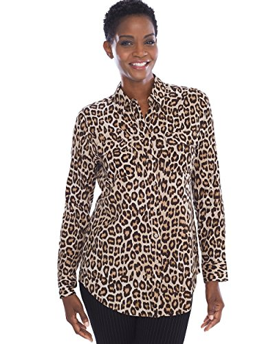 (Chico's Women's Silky Soft Animal Shirt Size 8/10 M (1) Brown)