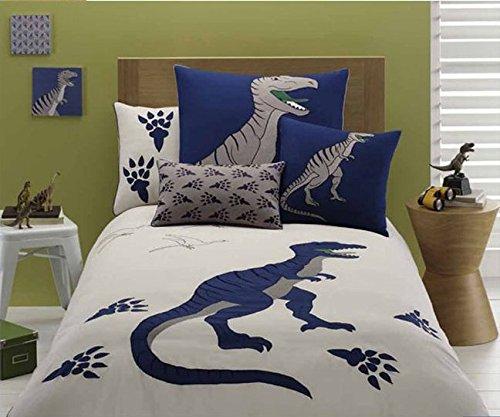 LELVA Dinosaur Pattern Bedding Sets Cartoon Bedding Kids Bedding Boys Embroidery Bedding (Full)
