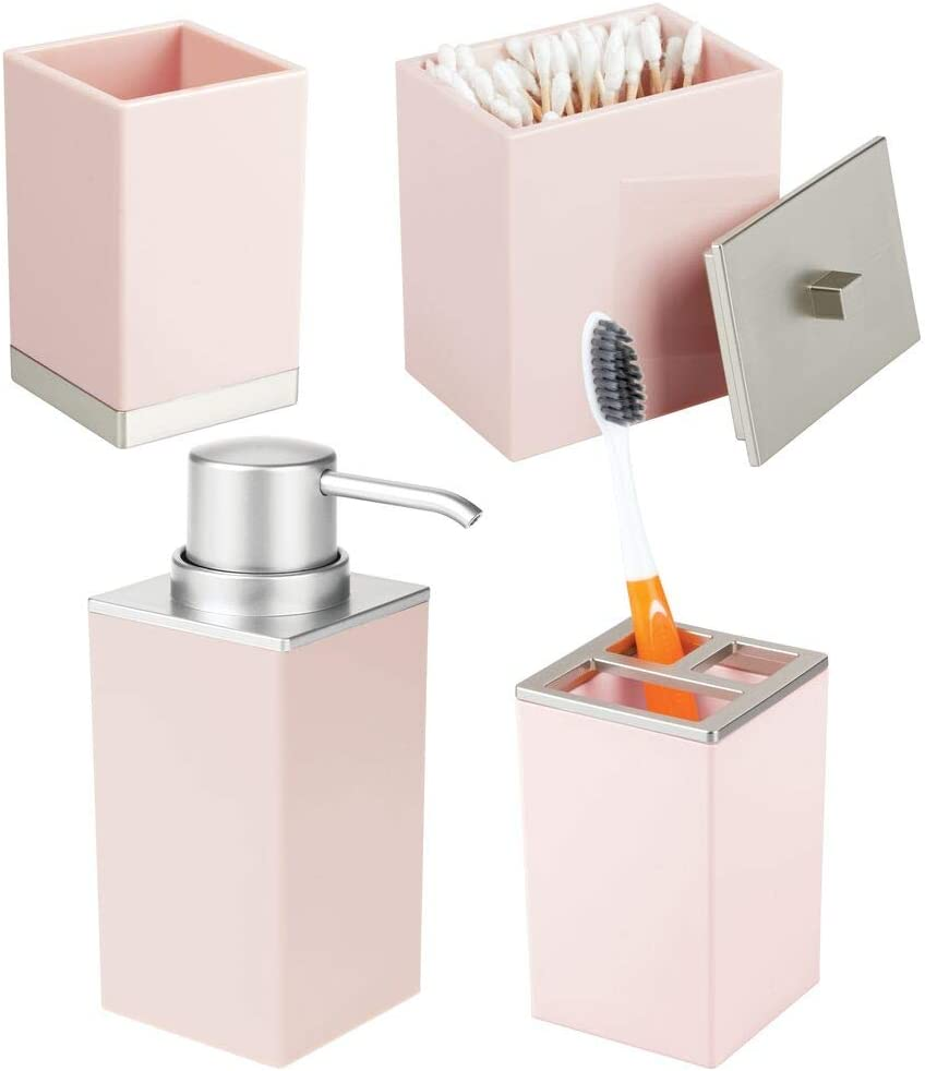Amazon Com Mdesign Plastic Bathroom Vanity Countertop Accessory Set Includes Soap Dispenser Pump Divided Toothbrush Holder Tumbler Rinsing Cup Storage Canister 4 Pieces Light Pink Brushed Home Kitchen
