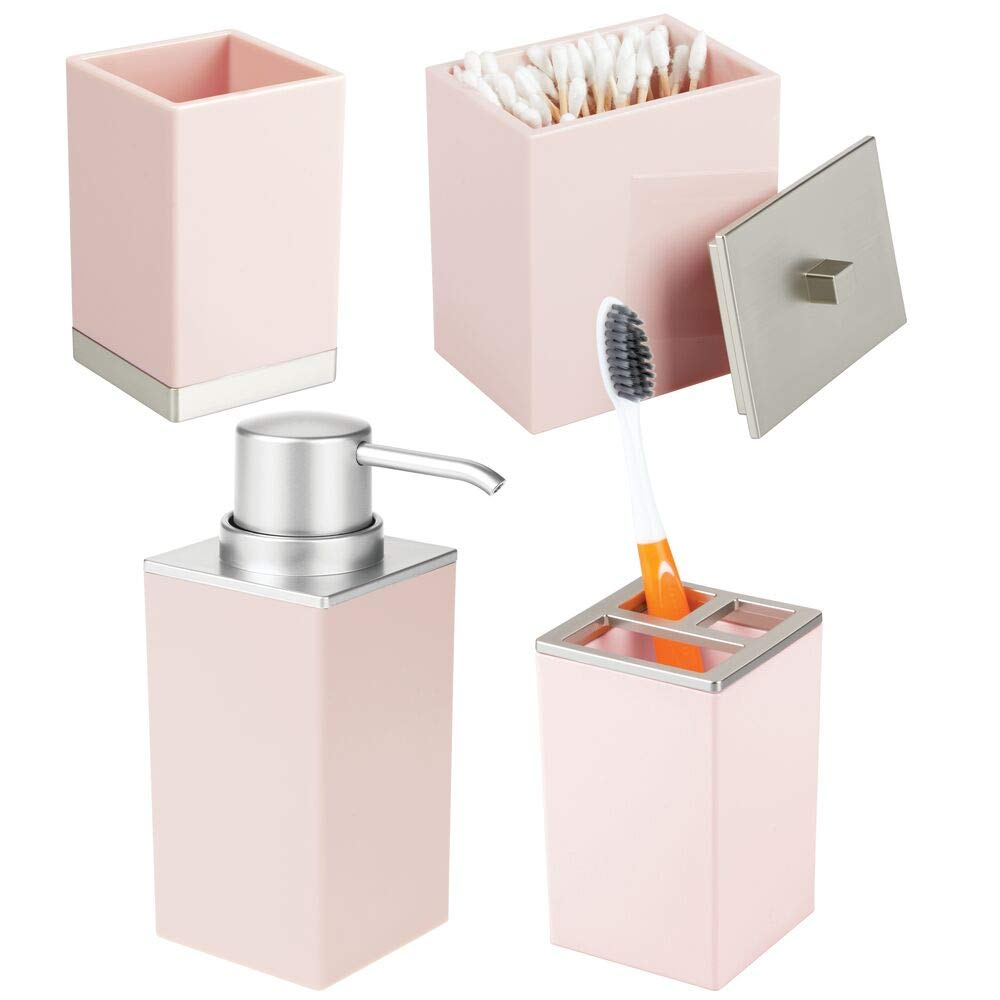 mDesign Plastic Bathroom Vanity Countertop Accessory Set - Includes Soap Dispenser Pump, Divided Toothbrush Holder, Tumbler Rinsing Cup, Storage Canister - 4 Pieces - Light Pink/Brushed