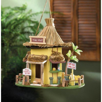 Birdhouses Garden Yard Decor TIKI HUT BIRDHOUSE Tropics With Cleanout
