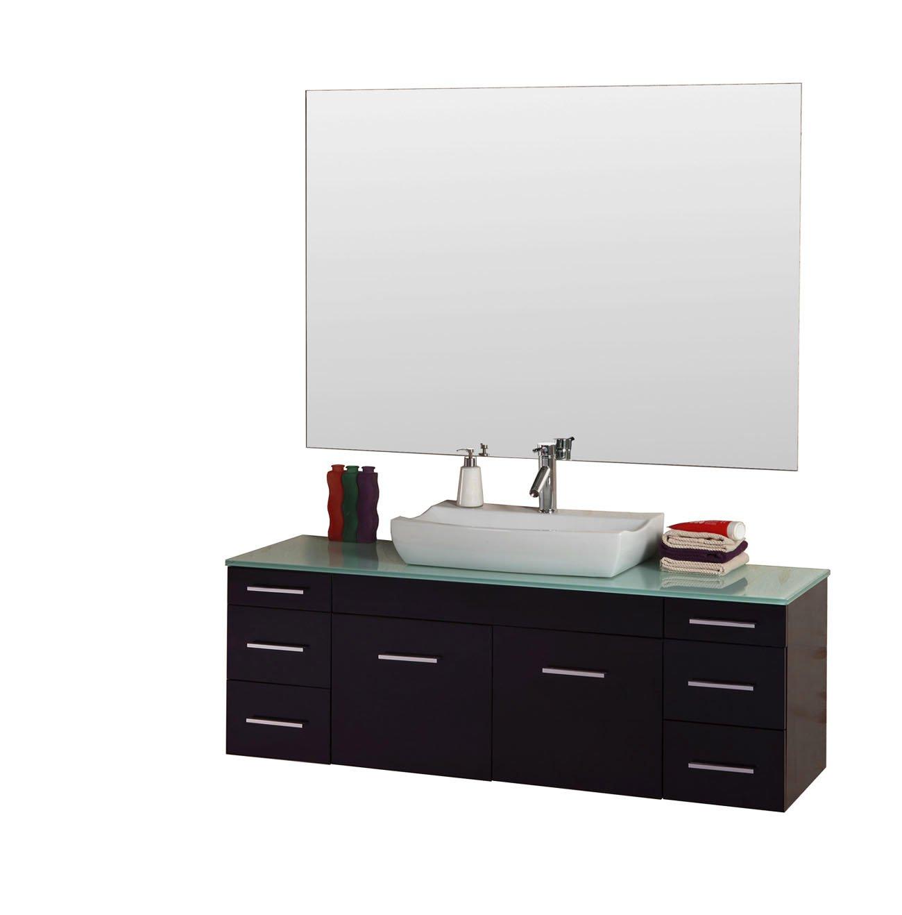 Virtu usa hazel 56 inch single sink bathroom vanity set free - Virtu Usa Um 3083 G Es Biagio 56 Inch Wall Mounted Single Sink Bathroom Vanity Set With Tempered Glass Countertop Espresso Finish Amazon Com