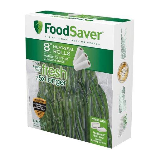 """FoodSaver Rollo de sellado al vacío de 8 """"x 20 'con construcción multicapa sin BPA para conservación de alimentos, paquete de 3"""