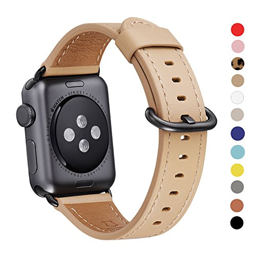 Apple Watch Band 38mm, WFEAGL Retro Top Grain Leather Band Replacement Strap with Stainless Steel Clasp for iWatch Series 3,Series 2,Series 1,Sport, Edition (38mm Camel Band+Black Buckle)