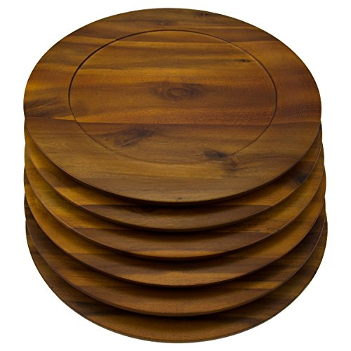 6 Pack Round 13 Inch Wooden Charger Plates B. Smith Solid Acacia Dinner Servers Set (Setting Table For Dinner)