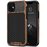 tendlin compatible with iphone 11 case wood grain with carbon fiber texture design leather hybrid
