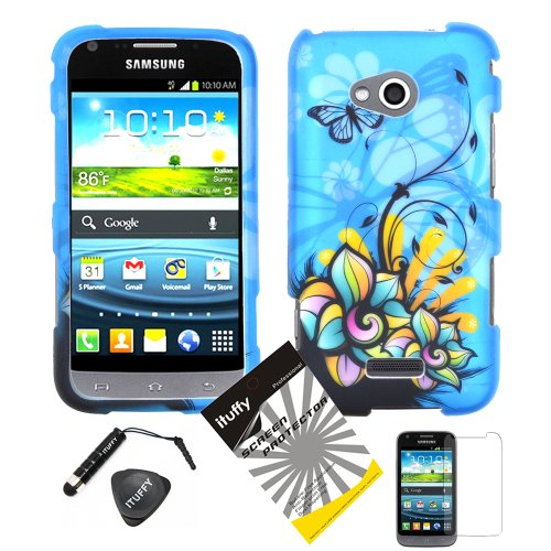 4 items Combo: ITUFFY (TM) LCD Screen Protector Film + Mini Stylus Pen + Case Opener + Blue Butterfly Orange Pink Green Color Daisy Flower Design Rubberized Snap on Hard Shell Cover Faceplate Skin Phone Case for (Virgin Mobile / Sprint) Samsung Galaxy Victory 4G LTE SPH-L300