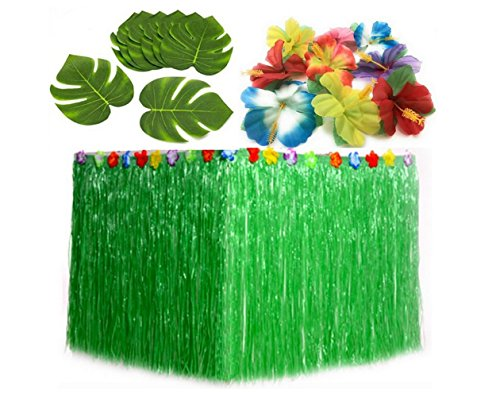 ZZGO Hawaiian Party Supplies Hula Grass Table Skirt + 30 Tropical Leaves+24 Hibiscus Flowers Luau Party Jungle Beach Theme Table Decorations (Green)