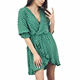 Hot Sale! Women Summer Casual Mini Dress Cuekondy Sexy V Neck Wave Point Printing Half Sleeve Beach Party Dresses (XL, Green)