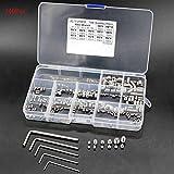 BTMB 240 Pcs M3 M4 M5 M6 M8 304 Stainless Steel Head Socket Hex Grub Screw Hex Socket Set Screw Assortment Kit (Silver)
