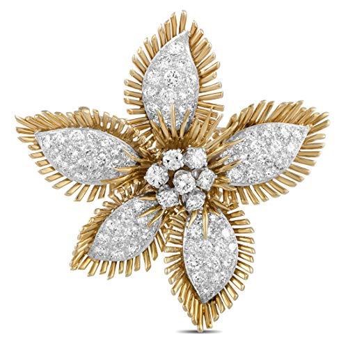 (David Webb(Est.) David Webb 18K Yellow Gold and Platinum Diamond Pave Flower Brooch)