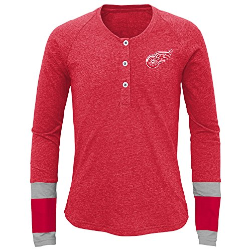 NHL Girls 7-16 Red Wings Long Sleeve Jersey Striped Henley, L(14), Black Heathered - Red Wings Girls Shirt