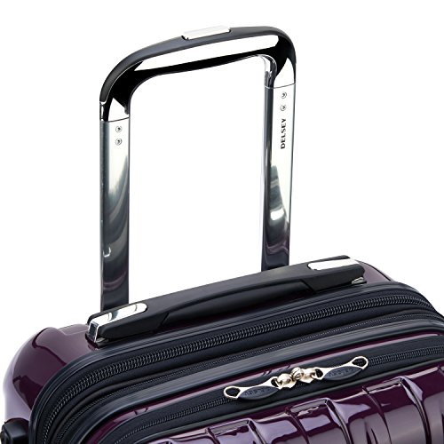 Delsey Luggage Helium Aero, International Carry On Luggage, Front Pocket Hard Case Spinner Suitcase, Plum Purple