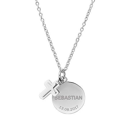 Gravado – Cadena con Dos Colgantes de Acero Inoxidable – Personalizado – Colgante de Medalla y Cruz – Regalos de Joyería para Niñas y Niños