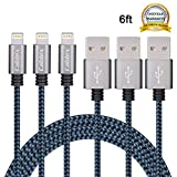Cablex 3Pack 6ft Nylon Braided Lightning to USB Syncing and Charging Cable Cord Fully Compatible with iPhone 7/7 Plus/ 6/ 6 Plus/ 6s/ 6s Plus /5/5s/SE iPad/iPod/Beats Pill+ and More(Black&Blue)