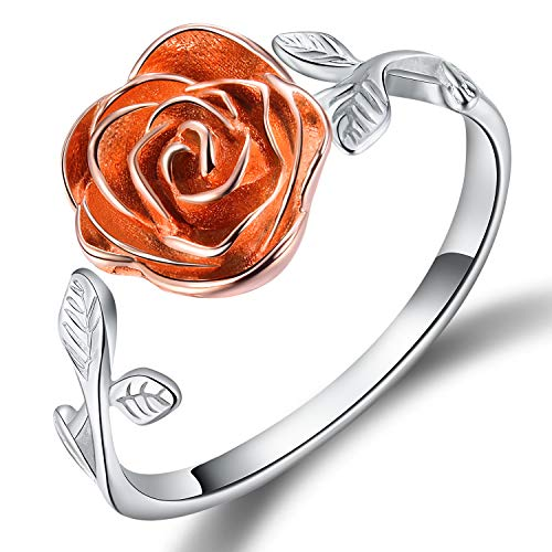 Rose Adjustable Ring - Esberry S925 Sterling Silver Rings Rose Open Ring 3D Rose Shape Adjustable Ring Jewelry for Women and Girls (Multicolor, 6.75)