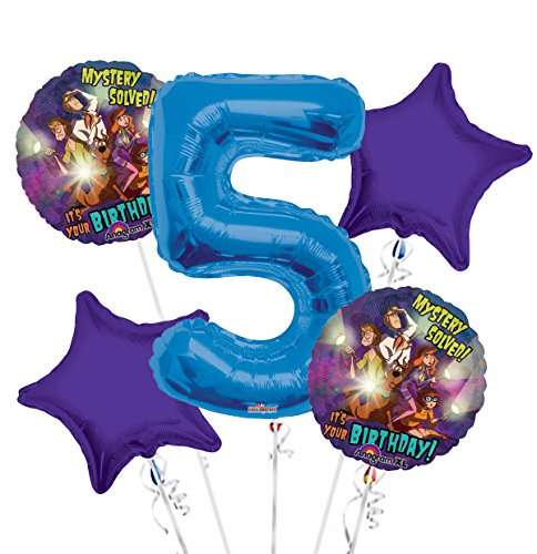 Scooby Doo Balloon Bouquet 5th Birthday 5 pcs - Party Supplies