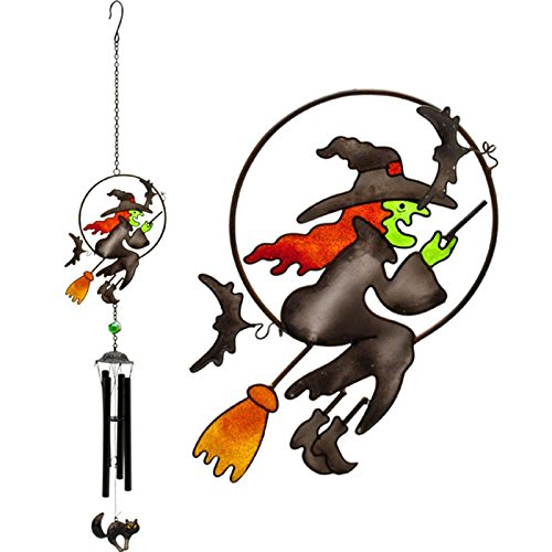 Flying Witch on a Broomstick Design Windchime Glass, Metal, Resin Home and Garden Ornament