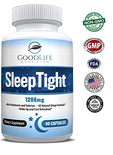 SleepTight All Natural Sleep Aid Pills Made with Valerian, Chamomile, Passionflower, Lemon Balm, Melatonin & More! - Sleep Well, Wake Refreshed - Non Habit Forming Sleep Supplement