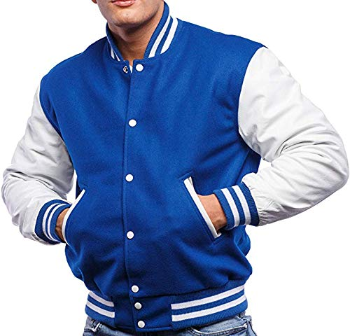 Design Custom Jackets Letterman Baseball Varsity Jacket White Leather/Royal Blue (L)
