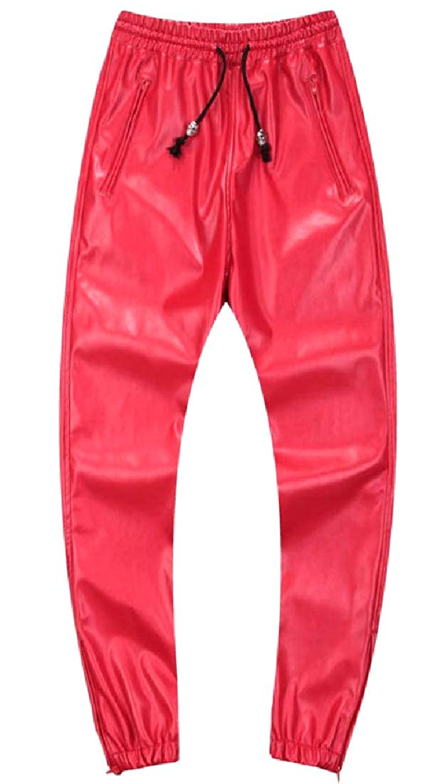 YUNY Mens Smooth Loose-Fit Bright Color Biker Pants with Pockets Red 35