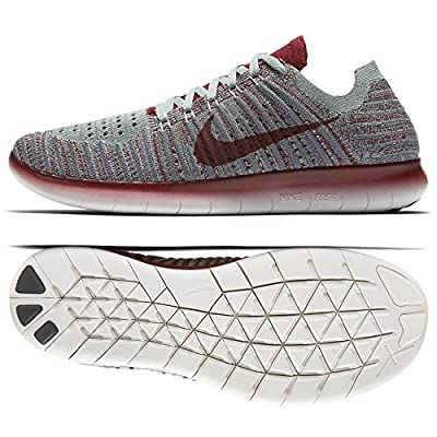 Nike Women's Free Running Motion Flyknit Shoes, Wolf Grey/Team Red/Mica Green/Cool Grey - 8 B(M) US