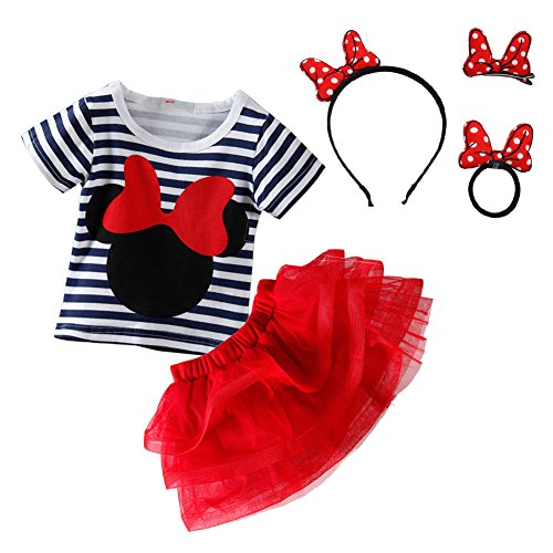 Mud Kingdom Toddler Girls Outfits with Headbands Sets Red 24 Months -