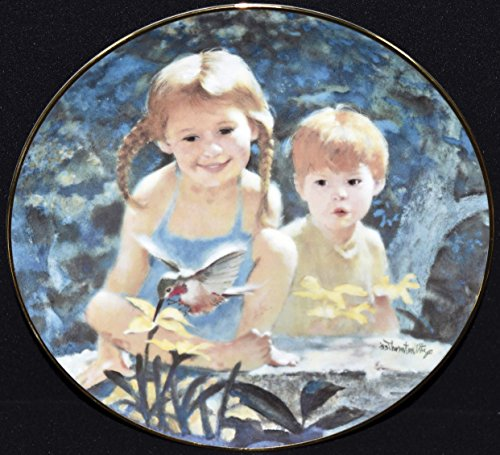 Art Collector Plate Collection - Thornton Utz Porcelain Collector Plate - Humming Bird GARDEN MAGIC Summer Days of Childhood Collection