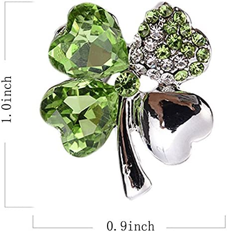 menoa Four Clover Brooch Pin Olive Style Delicate Rhinestone White Gold Plated Lover Gift
