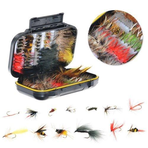 100個/セットボックスFly Fishing Flies人工Cicada Dry / Wet Flies Fly釣りルアー疑似餌パイクCarp冬のPesca Tackle B07BJ9RLTT