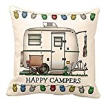 Throw Pillow Covers, E-Scenery Clearance Sale! Happy Campers Linen Square Decorative Throw Pillow Cases Cushion Cover for Sofa Bedroom Car Home Decor, 18 x 18 Inch
