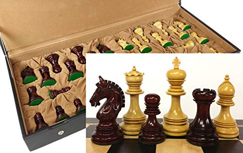 reek Knight 4 3/8 Inch King Double Queens Large Staunton Chess Men Set with Flat Vinyl Storage Box - NO Board ()