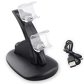 Tiean Compatible PS4 Wireless Game Controller, Dual Double Set USB Charging Dock Charger Station Cradle