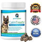 Calm Treats, Safe, All Natural Calming for Dogs, Dog Anxiety Supplement, Helps With Separation Anxiety, Motion Sickness, Storms, Fireworks. Promotes Comfort & Relaxation, Made in USA, 120 Soft Chews