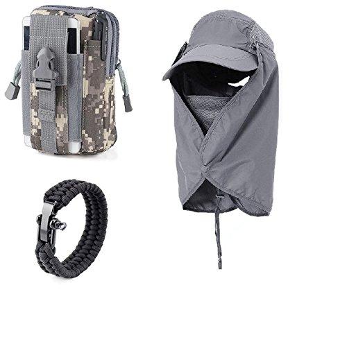 (Hat With Neck Flap For Men, EDC Pouch & Paracord Bracelet Bundle)
