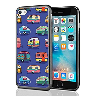 Vintage Camper Print On Blue For Iphone 7 Case Cover By Atomic Market