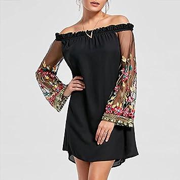 YUANLINGWEI Vestido De Fiesta Primavera Verano Fuera del Hombro Vestidos Sueltos Floral Bordada Vestido Negro Funda