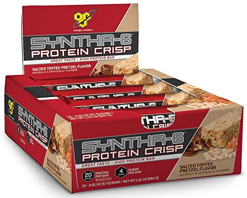 BSN Protein Crisp Bar by Syntha-6, Salted Toffee Pretzel, 12 Count (Packaging may vary)